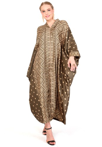 Kanzi by liza yahya brown Kanzi Long Sleeve Tapis Kaftan Kebaya 4C532AA81189F2GS_1