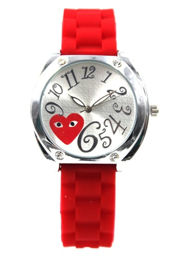 World of Watches red Play Curly Number Silicon Stap Watch 1087G WO566AC79DWYPH_1