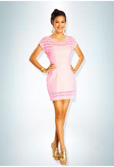 Devidasi Pink Lovely Lace Cocktail Dress