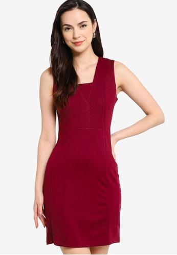 ZALORA WORK red Textured Sleeveless Dress D6148AAF7B87B1GS_1