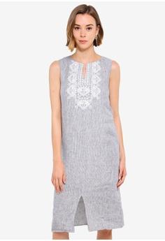 4a16c3ce78651 Island Shop navy Joelle Embroidery Midi Dress 48A5AAA7EAF07DGS_1