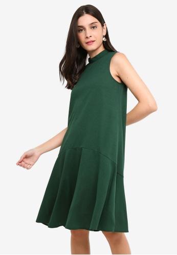 ZALORA 綠色 High Neck A-Line Dress 21CA7AA0FB7162GS_1