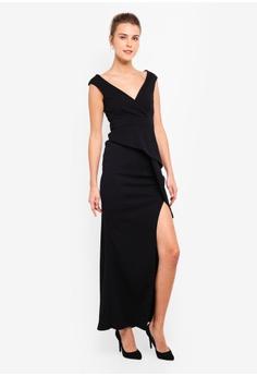 25db7555fb30 35% OFF Goddiva Folded Peplum Maxi Dress S$ 87.90 NOW S$ 56.90 Sizes 6 8 10  12 14