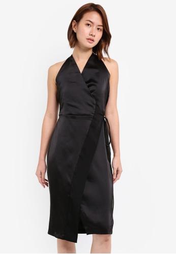 ZALORA black Satin Paneled Wrap Dress 2F966AA6FBCDBEGS_1