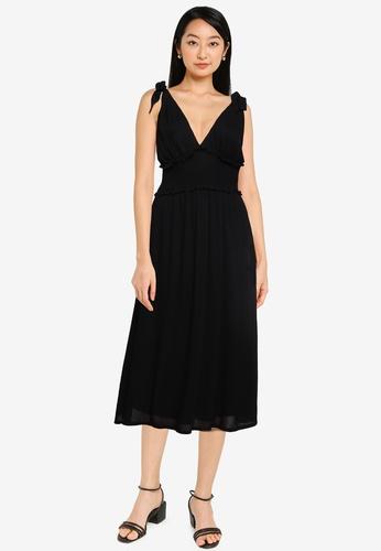 ZALORA BASICS black Deep V Midi Dress 193A7AA548B9E2GS_1
