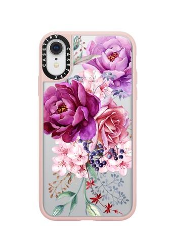 best website 06d6d 3cd1e Purple Peony Watercolour Classic Grip Case For iPhone XR - Pink