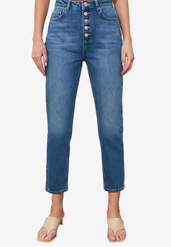 Trendyol blue Front Button High Waist Jeans 93C1EAA573FCBEGS_1