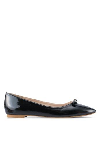 Velvet black Square Toes Ballet Flats 4D904SH579CACAGS_1