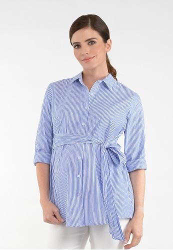 9months Maternity blue Light Blue Tie Front Maternity Shirt 761BDAA1342F27GS_1