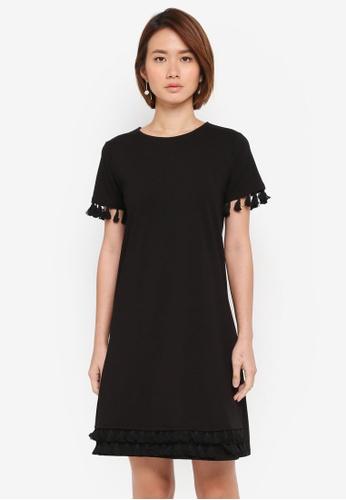 Dorothy Perkins black Black Tassel Shift Dress B8B69AA3D8C83CGS_1
