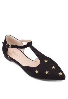 Pointed T-strap Ballerinas