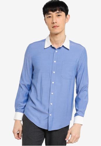 ZALORA BASICS blue Slim Fit Contrast Collar & Cuff Shirt A183EAA8011A65GS_1