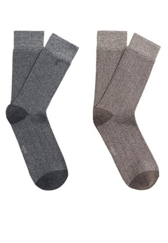 MANGO Man grey 2 Pack Patterned Socks 4EF73AAD054FECGS_1