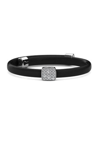 Her Jewellery black and silver Jack Leather Bracelet (Black) - Made with premium grade crystals from Austria HE210AC90DQBSG_1