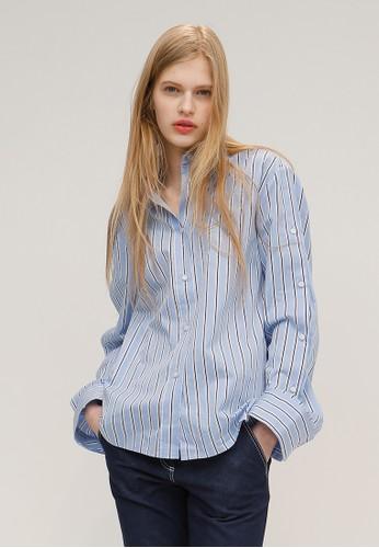 簡單現代版條紋襯衫, 韓系時尚, 上esprit hk衣