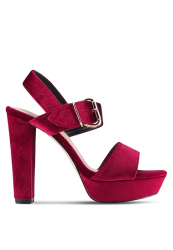 Something Borrowed red Peeptoe Platform Chunky Heel EFEFESH77C4916GS_1