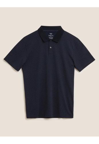MARKS & SPENCER navy M&S Pure Cotton Geometric Print Polo Shirt FF488AA8779B5DGS_1