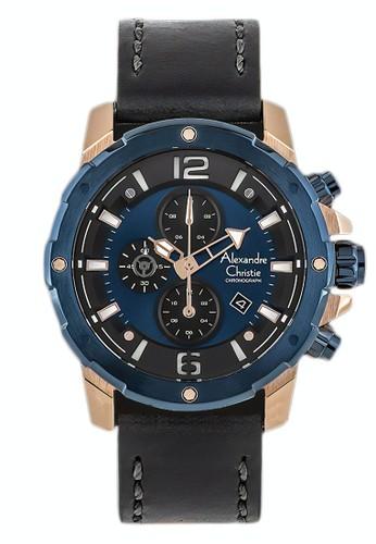 Alexandre Christie black Alexandre Christie Jam Tangan Pria - Black Rosegold Blue - Leather Strap - 6410 MCLURBU FA747AC3DBCF43GS_1