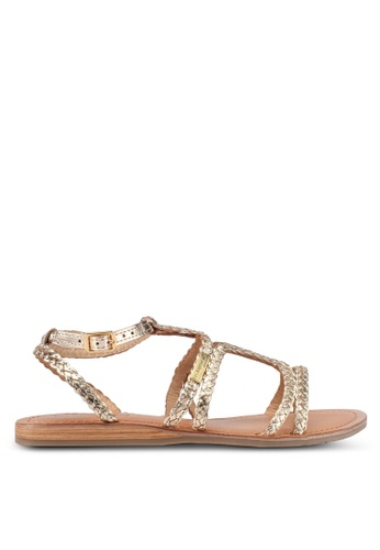 Les Tropeziennes Par M. Belarbi gold Bounty Gold Multi Strap Leather Sandals 228E4SHA96B2F8GS_1