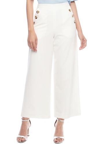 Nichii white Side Buttoned Wide Leg Pants F32B1AA2BC483CGS_1