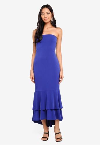 Preen & Proper blue Bodycon Dress With Circular Ruffle Hem C98A3AAA2B55D7GS_1