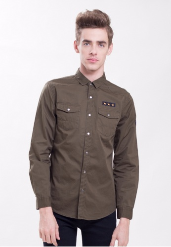 Drum Long Sleeve Patches Shirt- Army Green DR425AA0SFMHMY_1