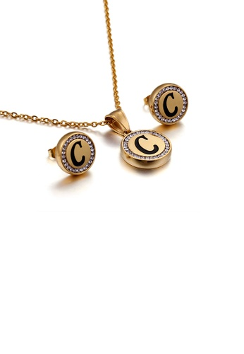 Glamorousky white Fashion and Simple Plated Gold English Alphabet C Geometric Round Cubic Zirconia with 316L Stainless Steel Necklace and Stud Earrings Set 6CD8EAC96CF34AGS_1