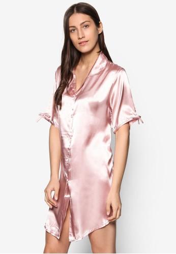 綢緞襯衫式睡裙esprit 中文, 服飾, 睡衣