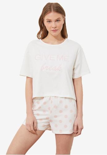Trendyol 白色 Slogan 睡衣組 1671BAAFEA529EGS_1