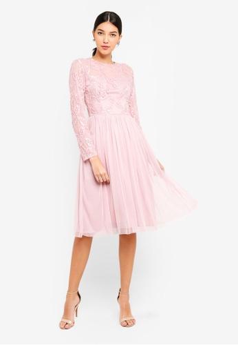 Little Mistress pink Pink Embroidered Midi Dress 2985FAA9C65D2FGS_1