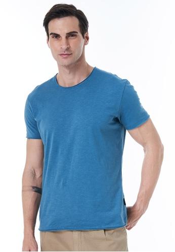 Sisley blue Crew Neck T-shirt BFFD3AAAAA1581GS_1