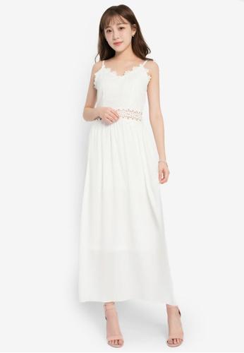 Yoco white Midi-Dress with Lace Cut-Out EC697AA73EC6F7GS_1