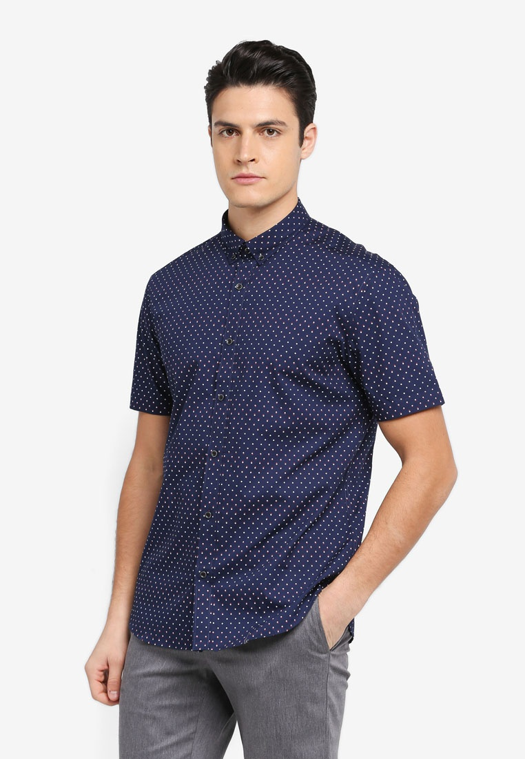 G2000 Dot Tone Peacoat Short Print Sleeve 2 Shirt BqpCYwwU