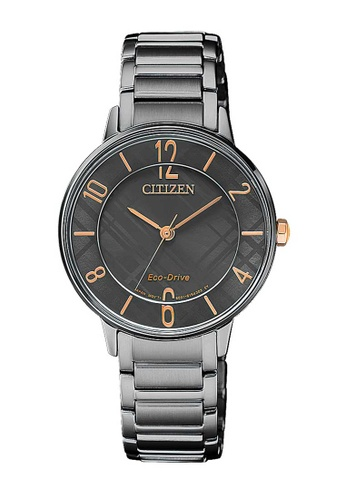 CITIZEN black Citizen Eco-Drive Gold and Black Stainless Steel Watch DFB25ACCE377CBGS_1