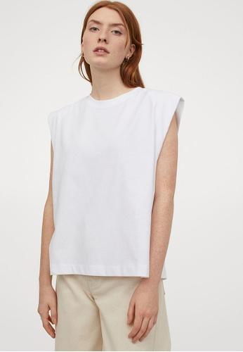 H&M white Sleeveless T-Shirt CEC9FAAA8F7419GS_1