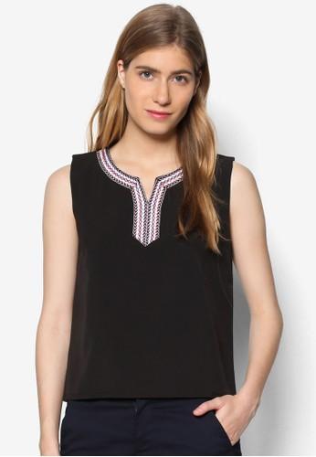 Mia 刺繡領無袖T-shirt、 服飾、 上衣MeganeMia刺繡領無袖上衣最新折價