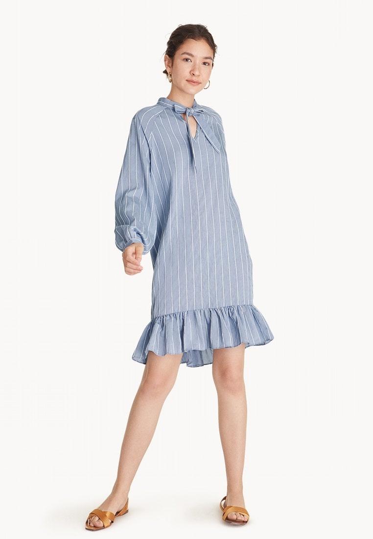 Blue Hem Tie Pomelo Midi Ruffled Collar Dress Striped xAqqBI0