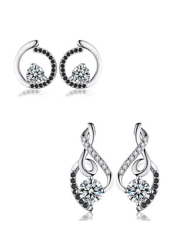 A-Excellence white Premium Elegant White Silver Earring Set 589BCAC09971EEGS_1