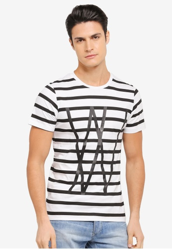 ZALORA black and white and multi Typographic Striped Tee E5071AA9D64AABGS_1