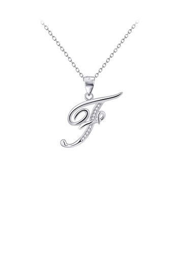 Glamorousky white 925 Sterling Silver Fashion Simple English Alphabet F Pendant with Cubic Zirconia and Necklace F67B5AC4E2D66EGS_1