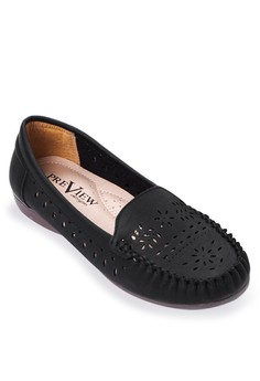 Perforated Cut out Flat Loafers