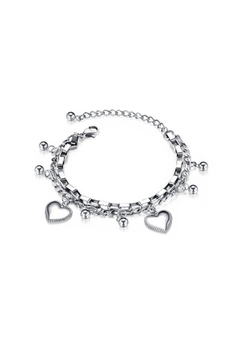 CELOVIS silver CELOVIS - Wisteria Heart Charm on Multi-layer Chain Bracelet in Silver 19D32ACB55C427GS_1