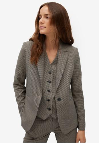 Mango brown Micro Houndstooth Suit Blazer CB486AA88A05ECGS_1
