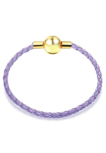 YOUNIQ purple and gold YOUNIQ 18cm Leather Charm Bracelet with Ribbon Gift Box - Gold & Purple 69B41AC91227C1GS_1