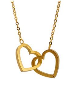 Double Heart Interlocked Necklace