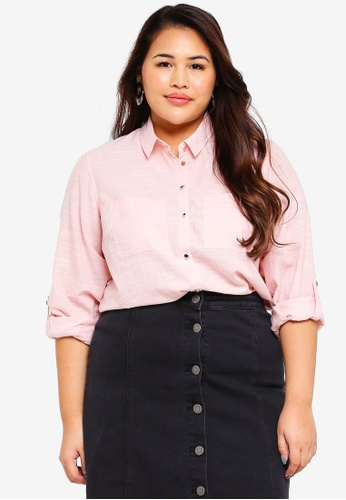 Dorothy Perkins pink Plus Size Pink Cotton Shirt 78AEBAA84287DAGS_1