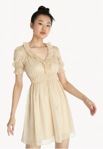 Pomelo multi Reflective Polka Dot Ruched Dress - Cream 1F493AAF65D98AGS_1