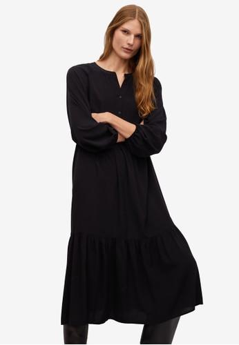 Mango black Fluted Hem Dress 1A5DBAA856039AGS_1