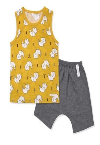 Organic mom yellow Organic Cotton Collin Elephant Pajamas 7A54EKAAE3B962GS_1