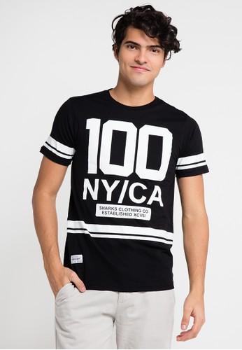 SHARKS black Short Sleeve T-Shirt SH473AA0UX3GID_1